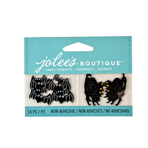 EK Success - Jolee's Boutique - Halloween - 3D Embellishments with Glitter Accents - Cats and Bats
