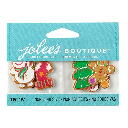 EK Success - Jolee's Boutique - Christmas - 3D Embellishments with Glitter Accents - Christmas Cookies