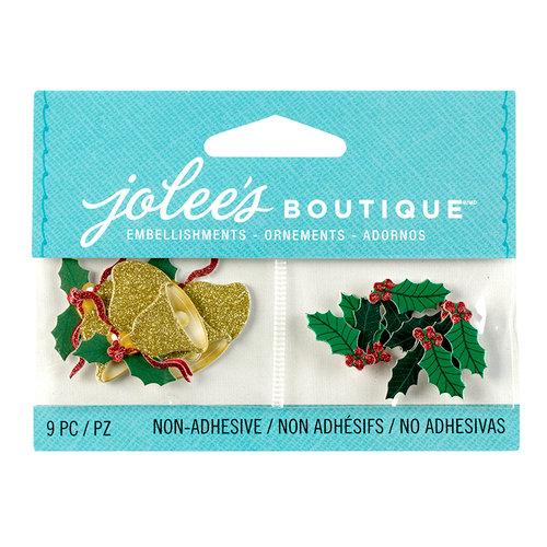 EK Success - Jolee's Boutique - Christmas - 3D Embellishments with Glitter Accents - Mini Jingle Bells