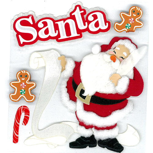 EK Success - Jolee's Boutique - Christmas - 3 Dimensional Stickers with Glitter Accents - Classic Santa