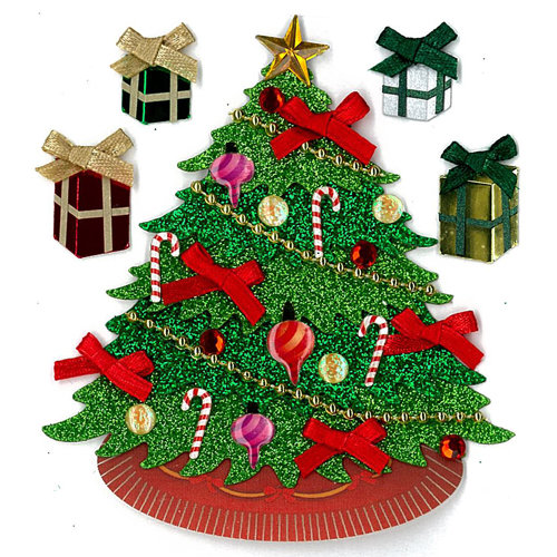 EK Success - Jolee's Boutique - Christmas - 3 Dimensional Stickers with Glitter and Gem Accents - Classic Tree, CLEARANCE