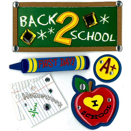 EK Success - Jolee's Boutique - 3 Dimensional Stickers with Epoxy and Gem Accents - Back 2 School