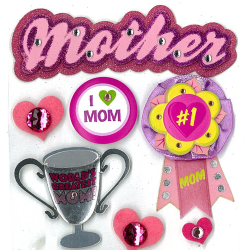 EK Success - Jolee's Boutique - 3 Dimensional Stickers with Epoxy Foil Gem and Glitter Accents - Mother