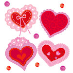 EK Success - Jolee's Boutique - Valentine - 3 Dimensional Stickers with Gem and Glitter Accents - Hearts and Lace