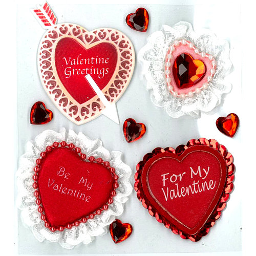 EK Success - Jolee's Boutique - Parcel Collection - Valentine - 3 Dimensional Stickers with Gem Accents - Greetings