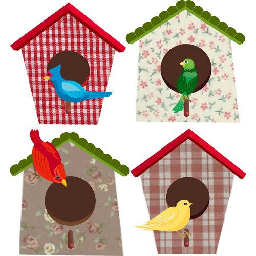 EK Success - Jolee's Boutique - Parcel Collection - 3 Dimensional Stickers - Bird Houses