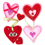 EK Success - Jolee's Boutique - Parcel Collection - Valentine - 3 Dimensional Stickers with Gem Accents - Felt Hearts
