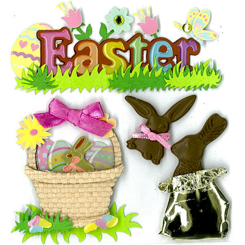 EK Success - Jolee's Boutique - Easter - 3 Dimensional Stickers with Epoxy Foil and Gem Accents - Easter Chocolate Bunnies