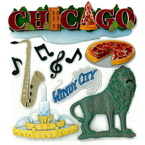 EK Success - Jolee's Boutique - 3 Dimensional Stickers with Epoxy Foil and Glitter Accents - Chicago
