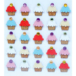 EK Success - Jolee's Boutique - 3 Dimensional Stickers with Felt Gem and Glitter Accents - Cupcake Repeats