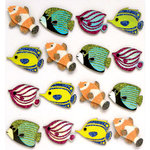 EK Success - Jolee's Boutique - 3 Dimensional Stickers with Foil and Glitter Accents - Fish Repeats