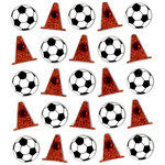 EK Success - Jolee's Boutique - 3 Dimensional Stickers with Gem and Glitter Accents - Soccer Ball and Cones Repeats