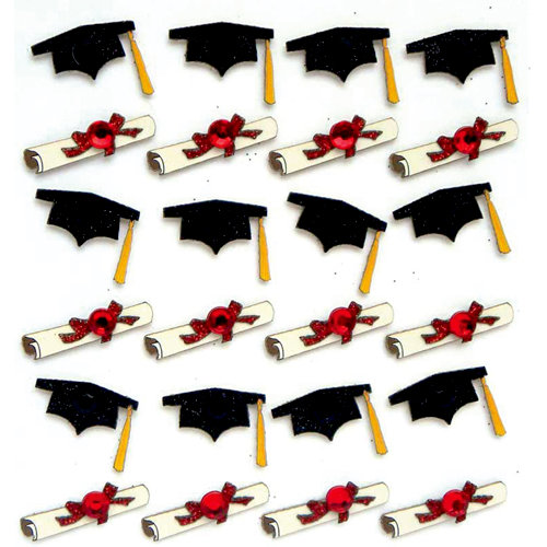 EK Success - Jolee's Boutique - 3 Dimensional Stickers with Gem and Glitter Accents - Graduation Cap and Diploma Repeats