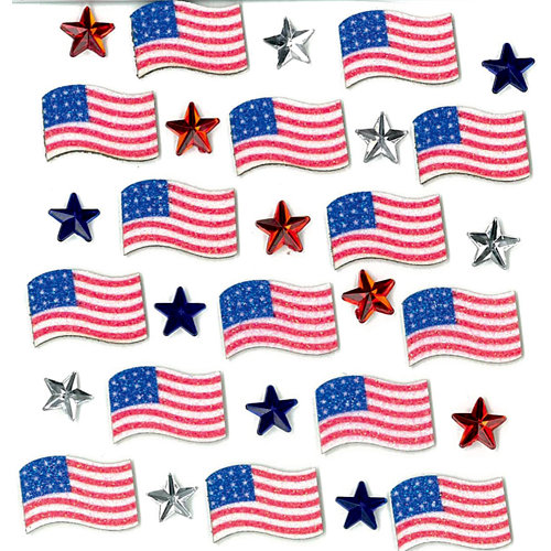 EK Success - Jolee's Boutique - 3 Dimensional Stickers with Gem and Glitter Accents - July 4th Repeats