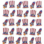 EK Success - Jolee's Boutique - 3 Dimensional Stickers with Gem and Glitter Accents - Patriotic Hats and Rockets Repeats