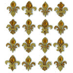 EK Success - Jolee's Boutique - 3 Dimensional Stickers with Gem and Glitter Accents - Gold Fleur di Lis Repeats