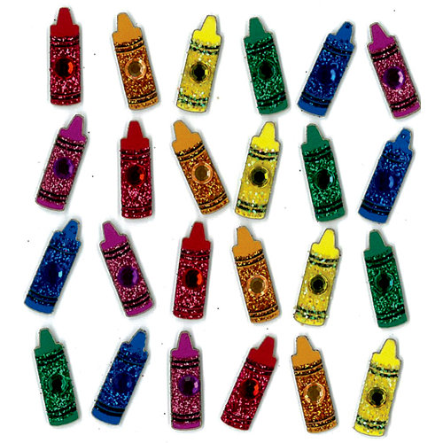 EK Success - Jolee's Boutique - 3 Dimensional Stickers with Gem and Glitter Accents - Little Crayons Repeats