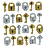 EK Success - Jolee's Boutique - 3 Dimensional Stickers with Gem and Glitter Accents - Gold and Silver Locks and Keys Repeats