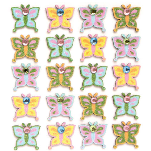 EK Success - Jolee's Boutique - 3 Dimensional Stickers with Gem and Glitter Accents - Multi Butterflies Repeats