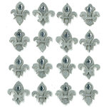 EK Success - Jolee's Boutique - 3 Dimensional Stickers with Gem and Glitter Accents - Silver Fleur di Lis Repeats
