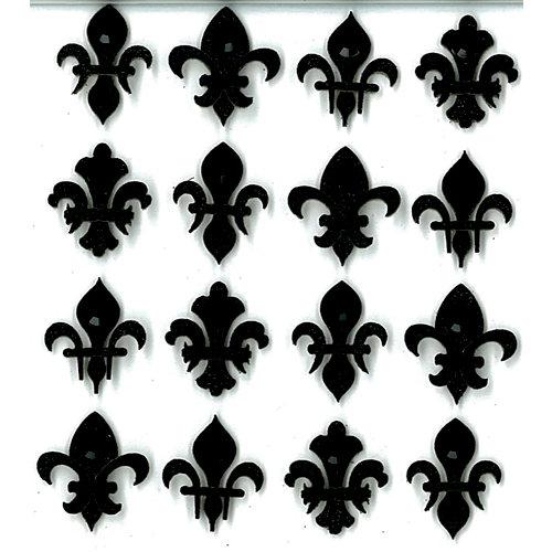 EK Success - Jolee's Boutique - 3 Dimensional Stickers with Gem and Glitter Accents - Black Fleur di Lis Repeats