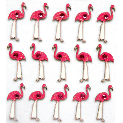 EK Success - Jolee's Boutique - 3 Dimensional Stickers with Gem and Glitter Accents - Flamingo Repeats