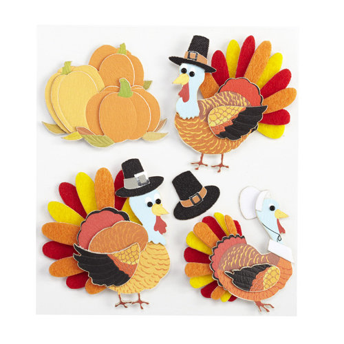 EK Success - Jolee's Boutique - 3 Dimensional Stickers with Foil Accents - Turkey Characters
