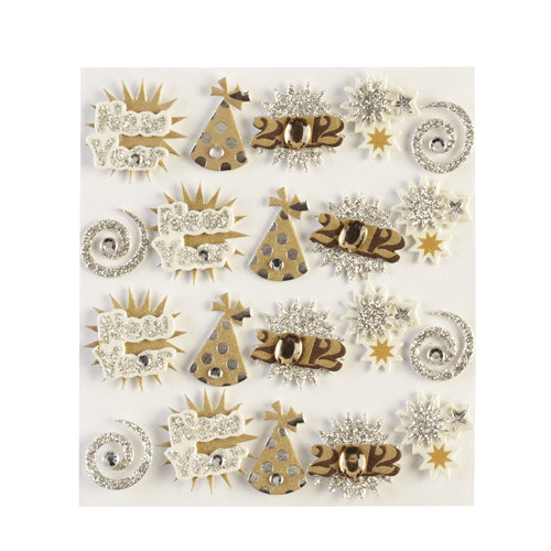 EK Success - Jolee's Boutique - 3 Dimensional Stickers with Foil Gem and Glitter Accents - Happy New Year Words Repeats