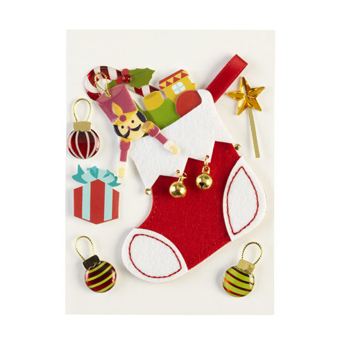 EK Success - Jolee's Boutique - Parcel Collection - Christmas - 3 Dimensional Stickers with Epoxy Foil and Gem Accents - Stockings with Wood Toys