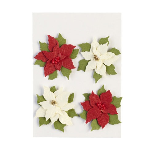 EK Success - Jolee's Boutique - Parcel Collection - Christmas - 3 Dimensional Stickers with Glitter Accents - Poinsettias