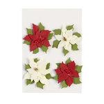 EK Success - Jolee's Boutique - Parcel Collection - Christmas - 3 Dimensional Stickers with Glitter Accents - Poinsettias