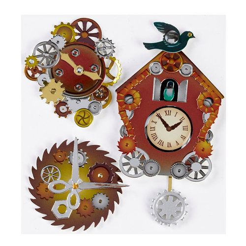 EK Success - Jolee's Boutique - Steampunk Collection - 3 Dimensional Stickers with Epoxy and Foil Accents - Coo Coo Clocks