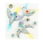 EK Success - Jolee's Boutique - Steampunk Collection - 3 Dimensional Stickers with Feather Foil and Gem Accents - Birds