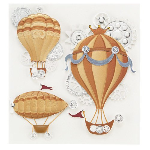EK Success - Jolee's Boutique - Steampunk Collection - 3 Dimensional Stickers with Foil and Gem Accents - Flying Machines