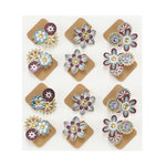 EK Success - Jolee's Boutique - Steampunk Collection - 3 Dimensional Stickers with Foil and Gem Accents - Floral Corners