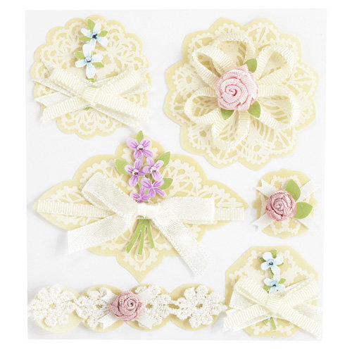 EK Success - Jolee's Boutique - Around the World Collection - 3 Dimensional Stickers with Gem Accents - Layered Doilies with Bows