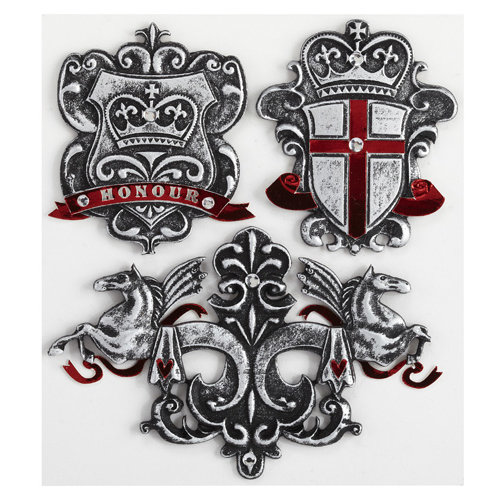 EK Success - Jolee's Boutique - Around the World Collection - 3 Dimensional Stickers with Foil and Gem Accents - Crests and Shields