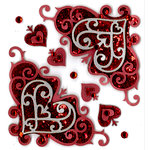 EK Success - Jolee's Boutique - Valentine's Day Collection - 3 Dimensional Stickers with Foil Gem and Glitter Accents - Valentine Flourishes