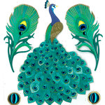 EK Success - Jolee's Boutique - Around the World Collection - 3 Dimensional Stickers with Foil Gem and Glitter Accents - Peacock