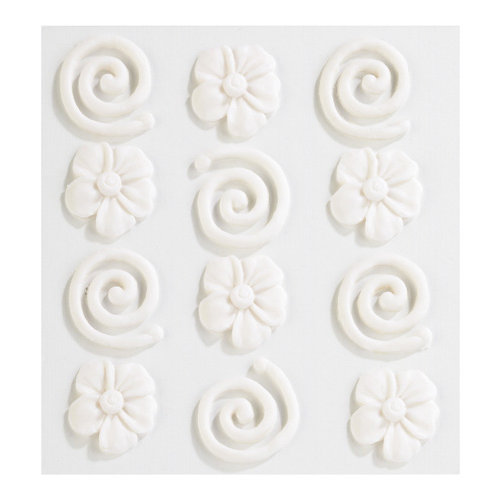 EK Success - Jolee's Boutique - Confections Collection - 3 Dimensional Stickers - White Swirls and Icing Flowers
