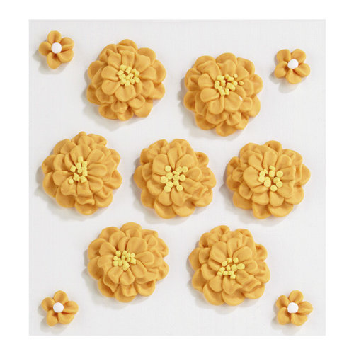 EK Success - Jolee's Boutique - Confections Collection - 3 Dimensional Stickers - Orange Marigold Icing Flowers