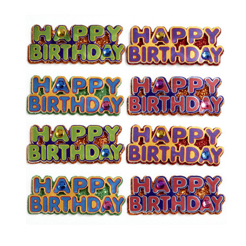 EK Success - Jolee's Boutique - 3 Dimensional Stickers with Foil Gem and Glitter Accents - Happy Birthday Words Repeats