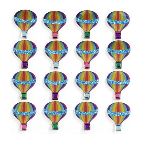 EK Success - Jolee's Boutique - 3 Dimensional Stickers with Foil Gem and Glitter Accents - Hot Air Balloon Repeats