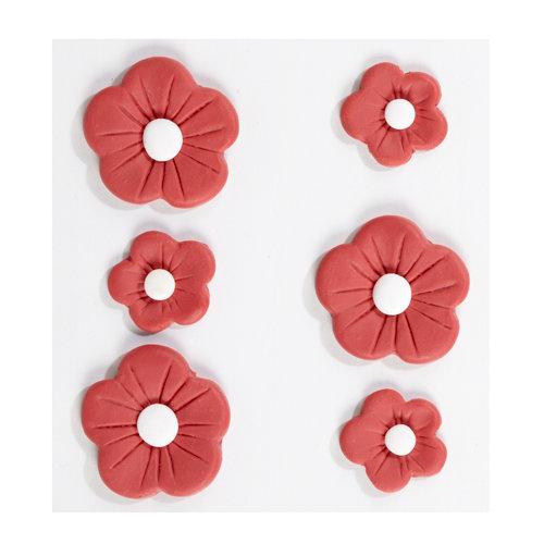 EK Success - Jolee's Boutique - Confections Collection - 3 Dimensional Stickers - Large Red Fondant Flowers