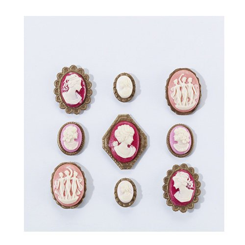 EK Success - Jolee's Boutique - French General Collection - Cameos - Layered Metal Resin