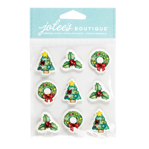 EK Success - Jolee's Boutique - Christmas - 3 Dimensional Stickers with Gem Accents - Christmas Icons