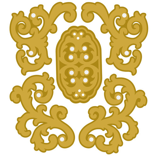 EK Success - Jolee's Boutique - Parcel Christmas Collection - 3 Dimensional Stickers with Gem Accents - Gold Felt Flourishes