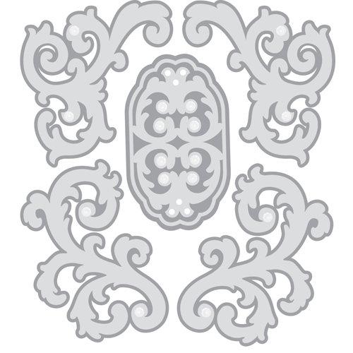 EK Success - Jolee's Boutique - Parcel Christmas Collection - 3 Dimensional Stickers with Gem Accents - Silver Felt Flourishes