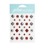 EK Success - Jolee's Boutique - 3 Dimensional Stickers - Red and Silver Studs