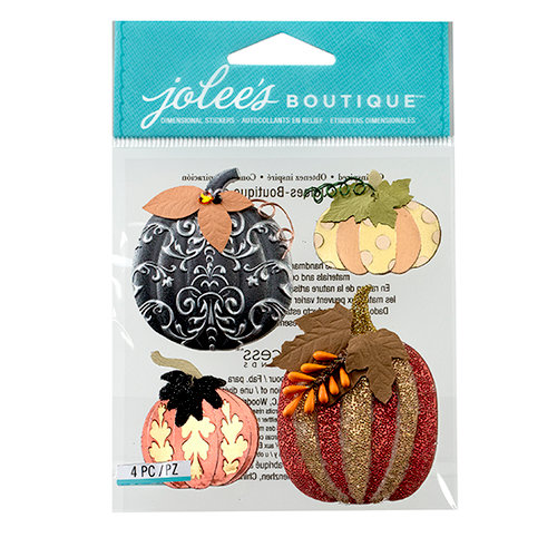 EK Success - Jolee's Boutique - Halloween 2013 Collection - 3D Stickers with Gem and Glitter Accents - Metallic Pumpkins